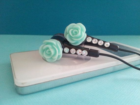Lt Teal Glitter Rose Black earbuds with by HoneyBadgerBuds on Etsy, $15.00