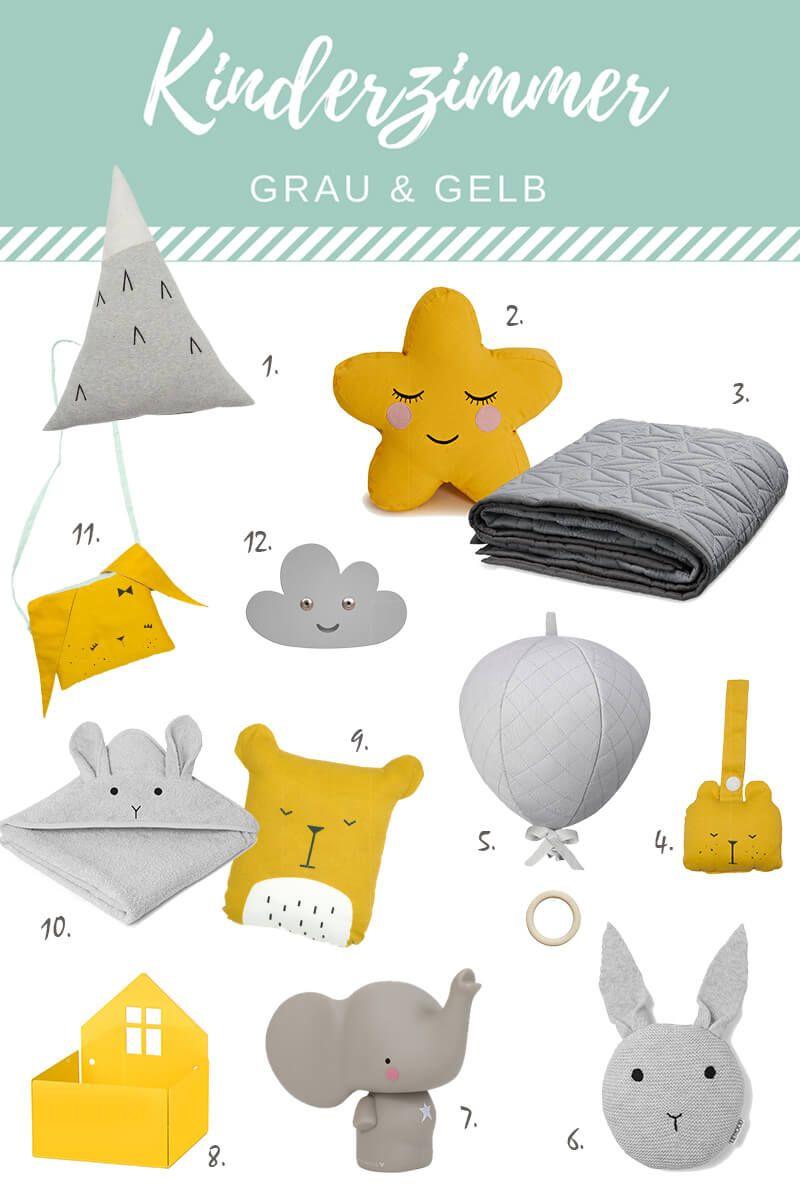 Kinderzimmer in den Trendfarben grau und gelb gestalten - mit diesen ...
