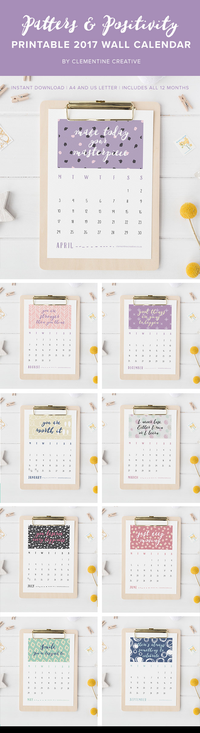 This printable 2017 wall calendar with positive quotes will encourage you to stay positive, and remind you that you are an amazing person. Download here.