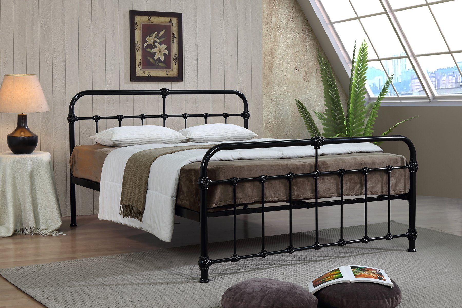 Malmo Hospital Style Black Metal Bed Bed frame, Bed