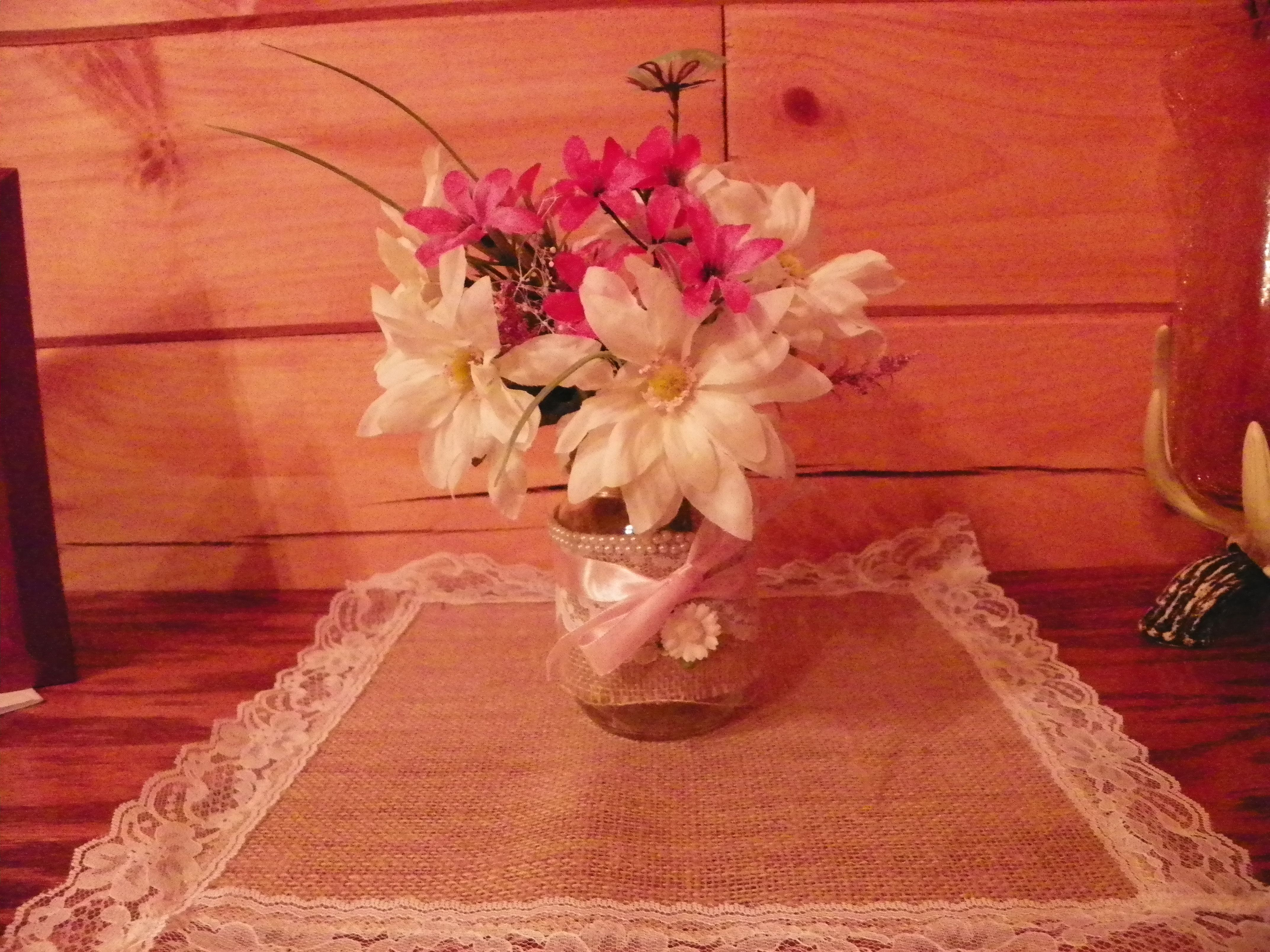 country wedding centerpiece for table