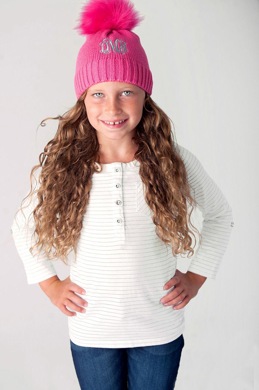 Bella Kids Pom Pom Stocking Hat Monogrammed  864b884fc3e8