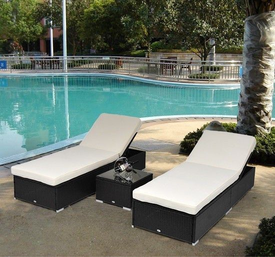 Charming 3 PCS Outdoor Rattan Wicker Chaise Lounge Sofa Couch Patio Furniture Set  Cushion