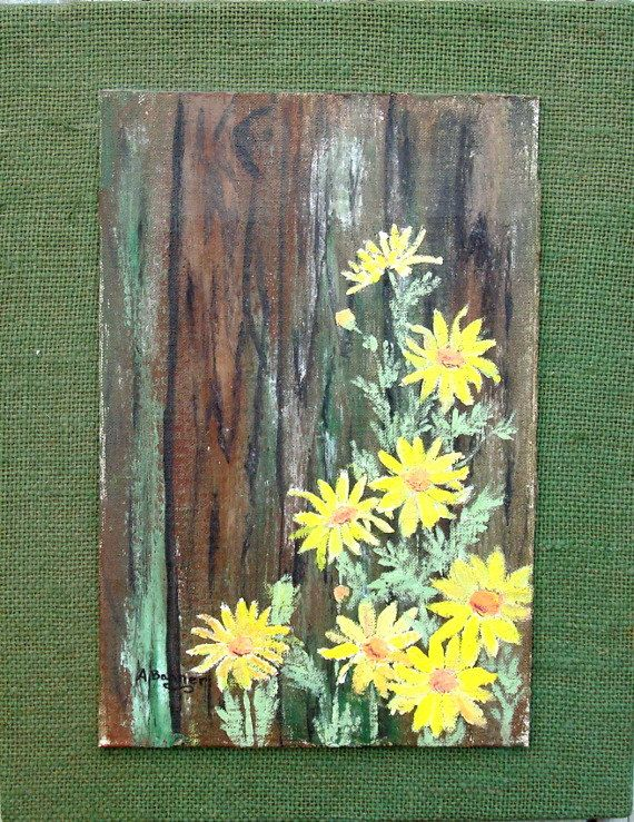 Acrylic painted daisies on wood with burlap by for Mural art on wood