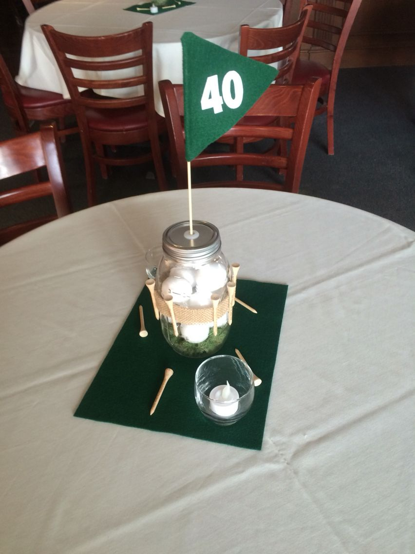 Golf theme centerpieces for 40th birthday party Tees flag and