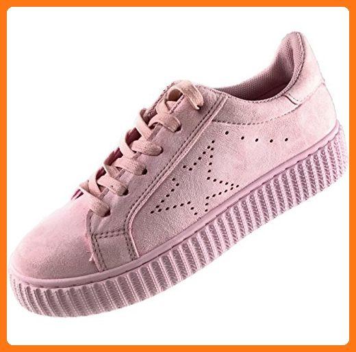 CAPRIUM Damen Sneakers Low-top Schnürer Schuhe in Veloursoptik , 000201819  (40, Rosa fa02a2b029