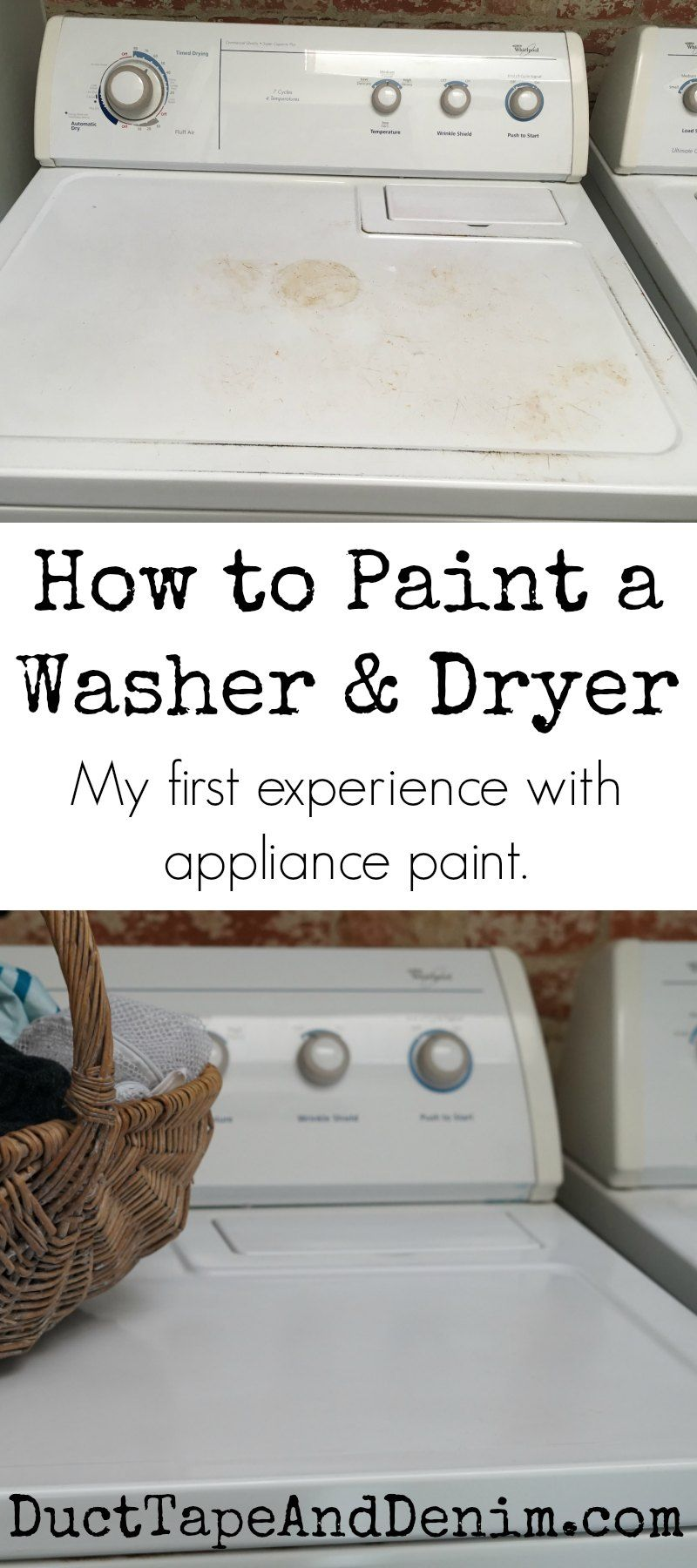 How to paint a washer and dryer. My first experience with appliance paint. Washing machine makeover! DuctTapeAndDenim.com  #howtopaintwashingmachine #appliancepaint #paintingappliances #howtopaintappliances #laundryroom #laundryroommakeover #budgetroommakeover