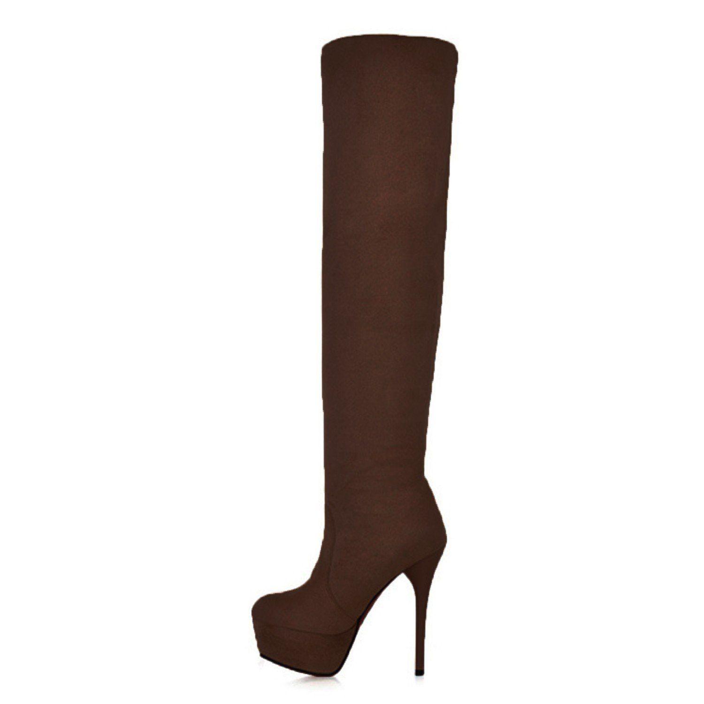 Slim Heel Synthetic Over Knee Boots - Brown