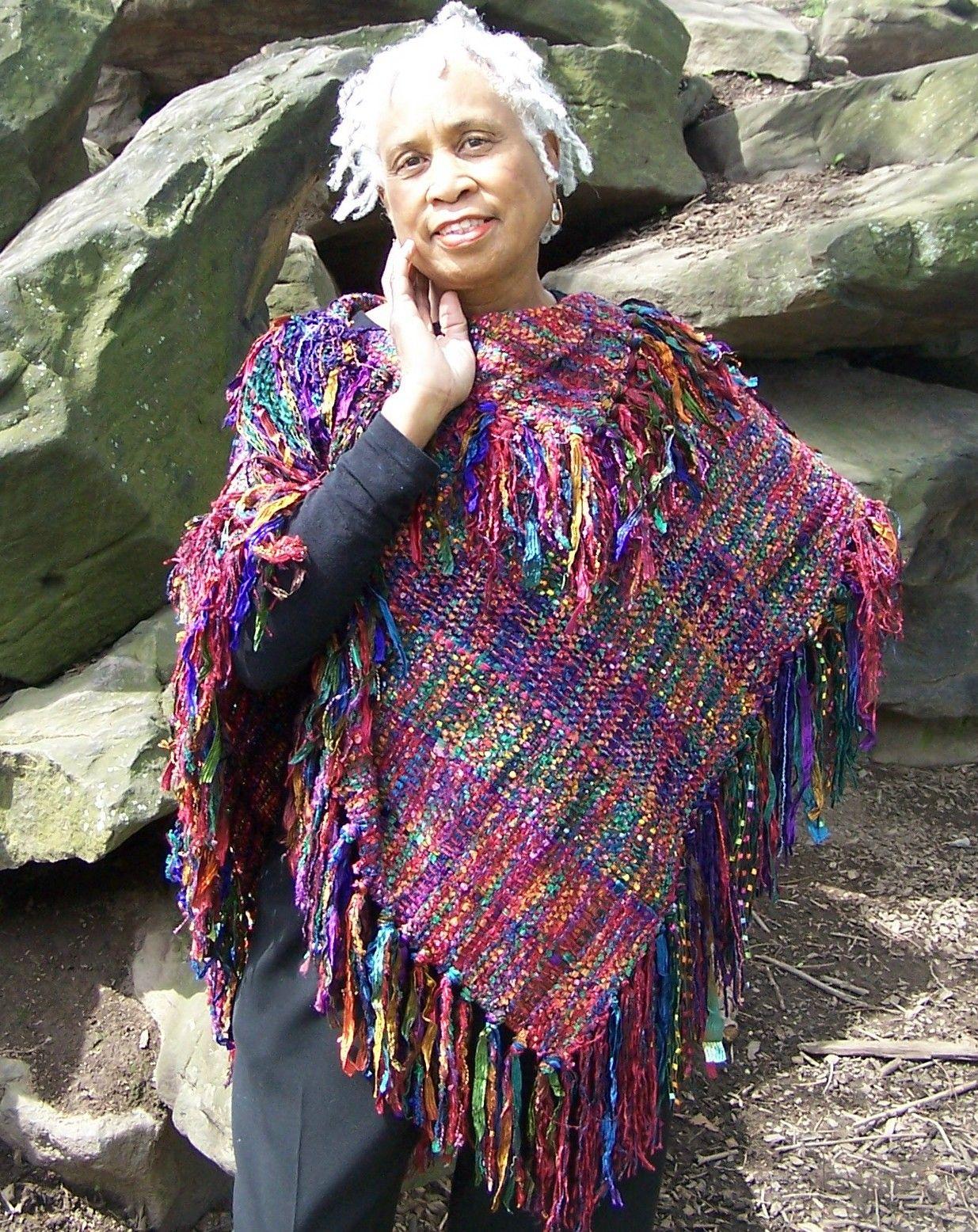 Beautiful colors! Handwoven Poncho ...fits everyone LaVerne Kemp Handwovens www.thewarpedweaver.blogspot.com gypsygal5@aol.com