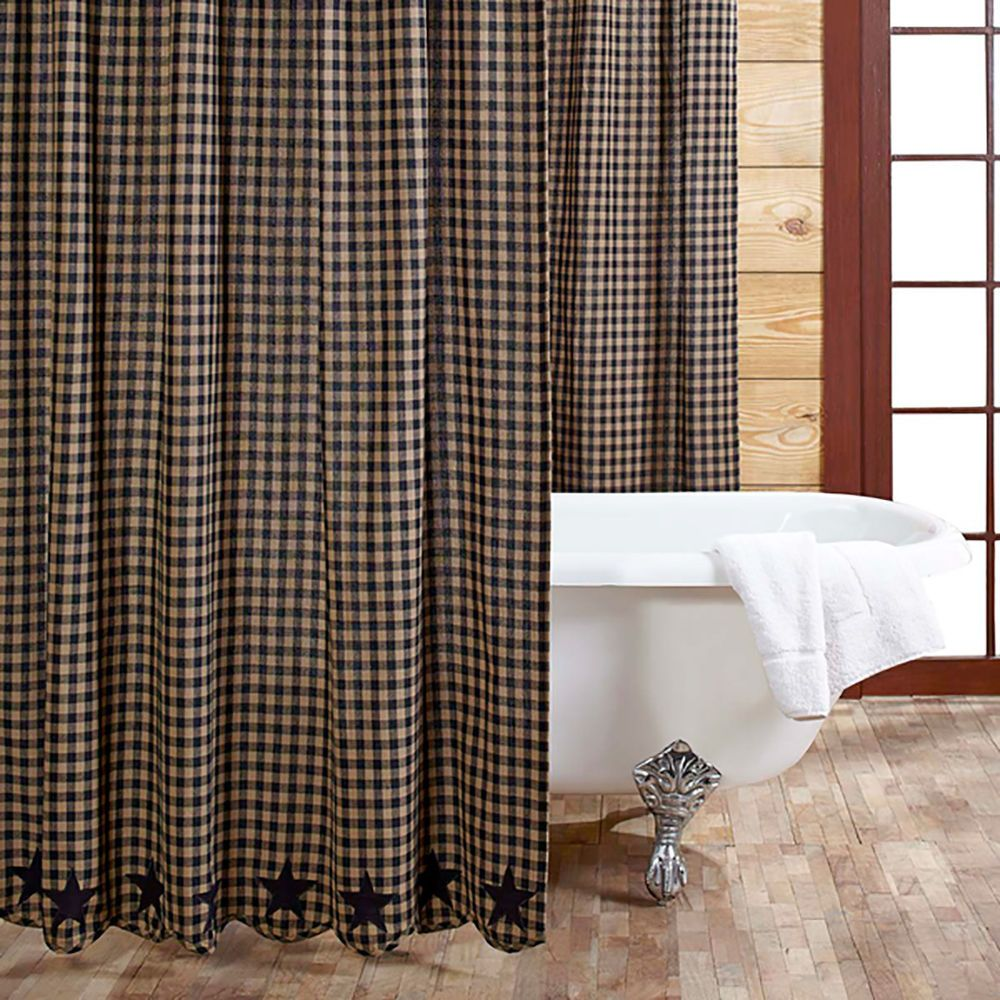 Fabric Shower Curtain Black Tan Check Applique Star Country Primitive Bathroom VHCBrands