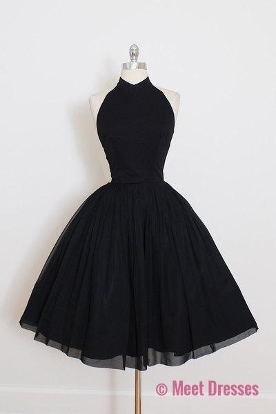 ee142ae785d5b Vintage Little Black Dress, Short Black Halter Prom Dress Homecoming Dress  PD20189524