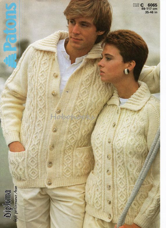 Womens aran cardigan knitting pattern mens aran by Hobohooks ...