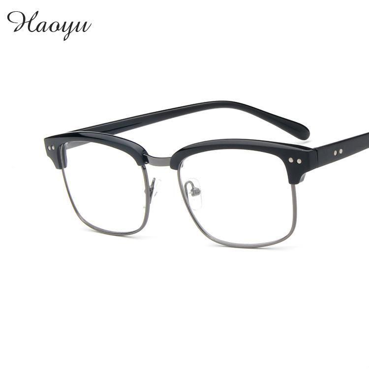 haoyu Universal fashion retro semi frame plastic spectacle glasses ...