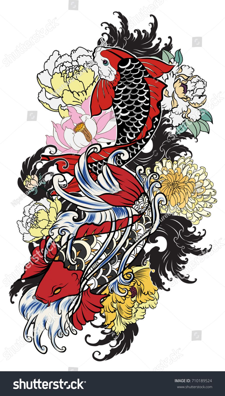 hand drawn koi fish with flower tattoo for Arm.Colorful Koi carp ...