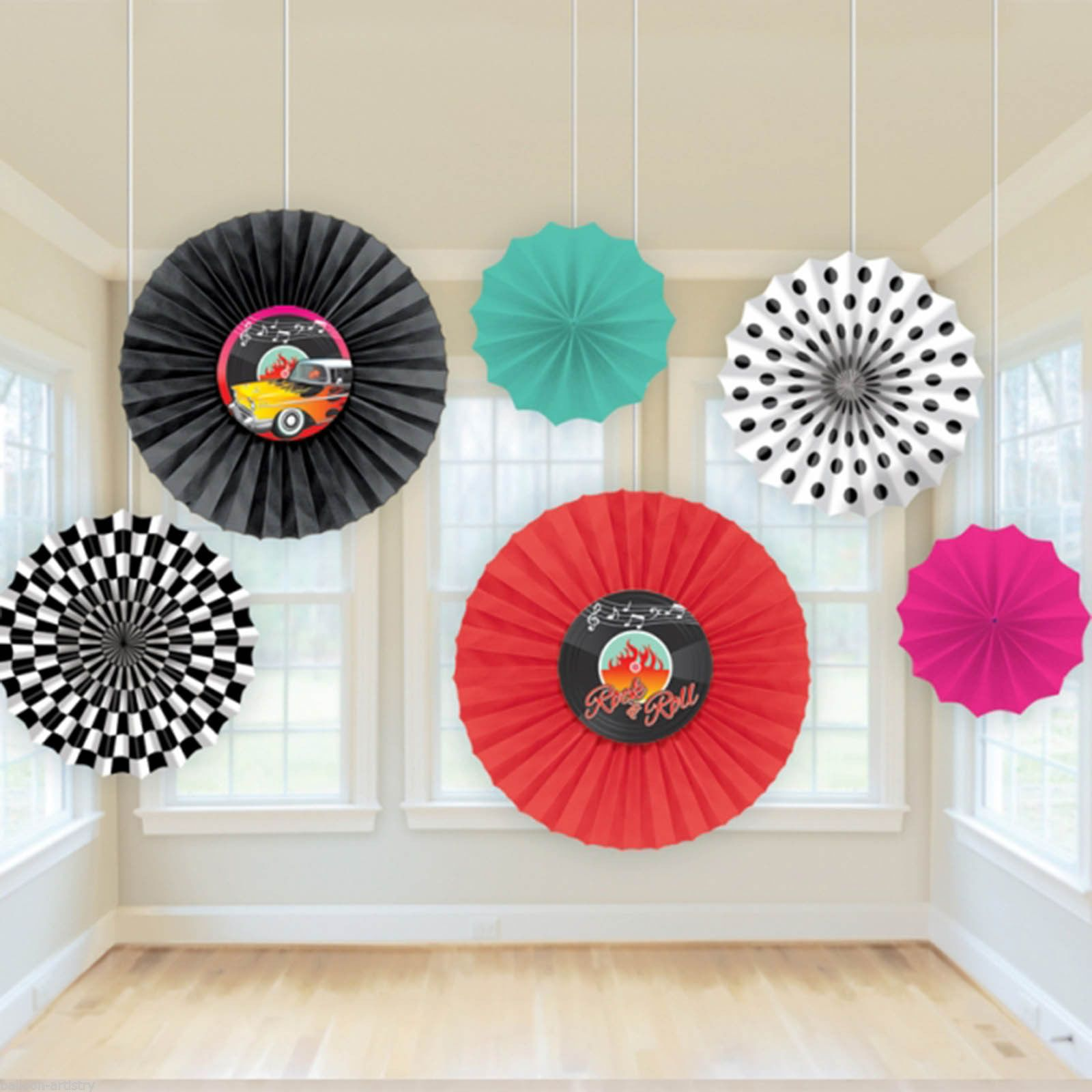 6 Assorted Classic 50s 1950s Rock Roll Party Hanging Paper Fan