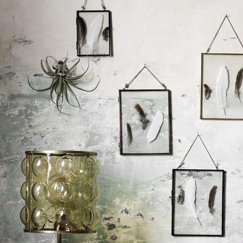 Cadre Photo Mural Contour En Métal Noir Cordelette Nordal Plumes