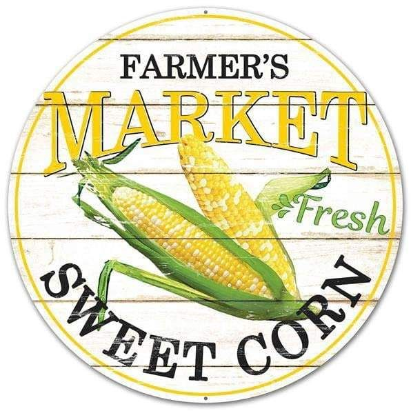 Farmers Market Sweet Corn Round Sign Size: 12