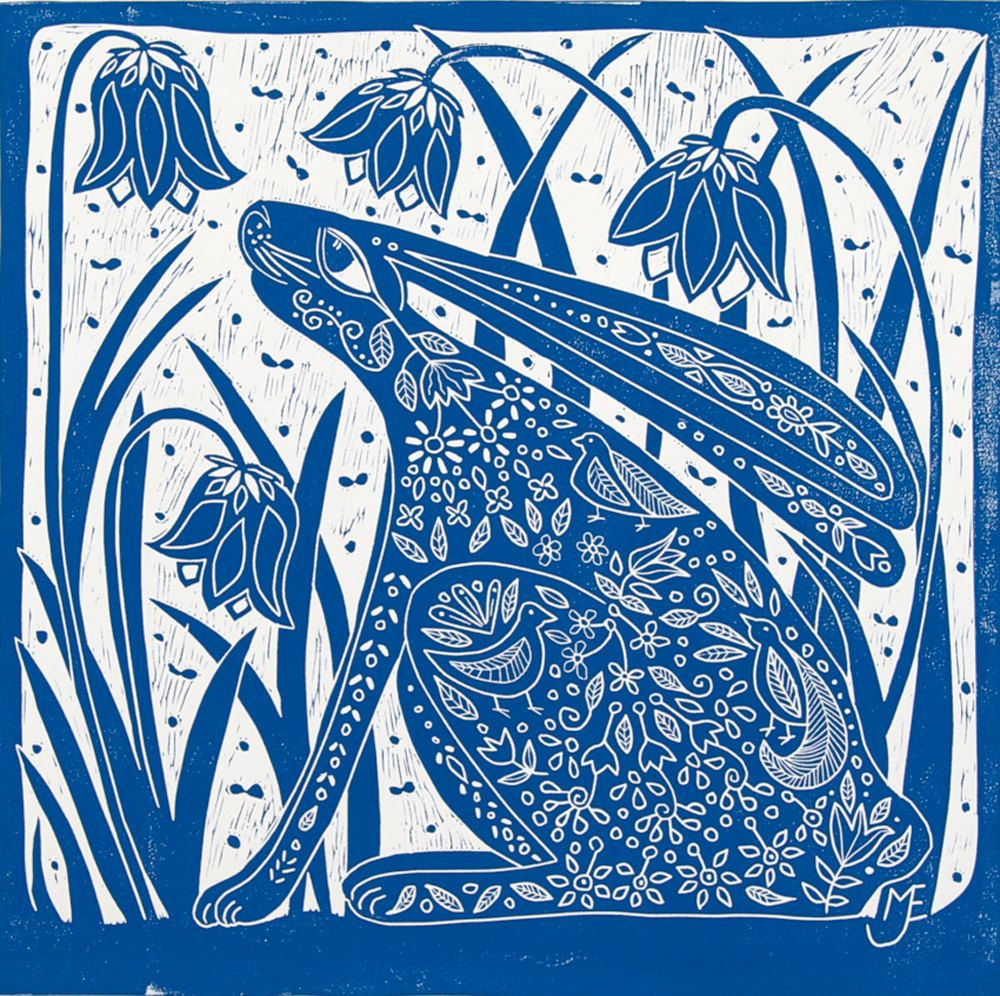Linocut Hare And Bluebells I Love This Linocut The Hare