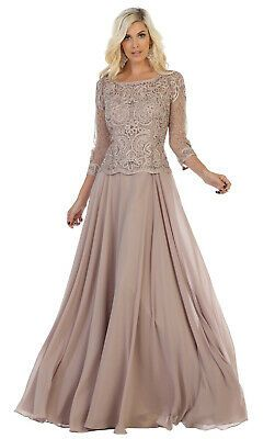 Details about 3/4 SLEEVE MODEST MOTHER of THE GROOM DRESS DEMURE BODICE EVENING FORMAL GOWN #groomdress