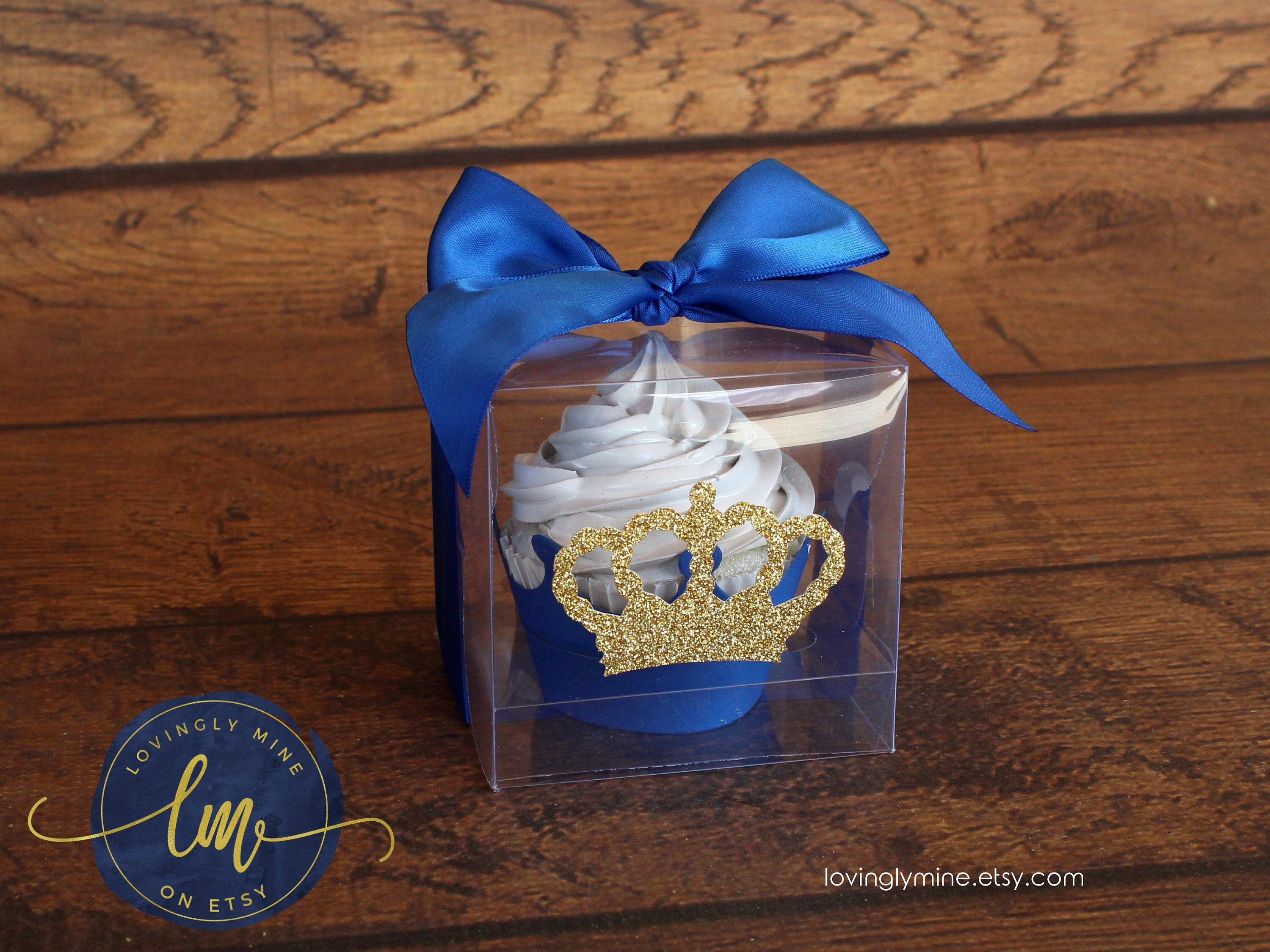 Clear cupcake plastic display favor boxes in royal blue