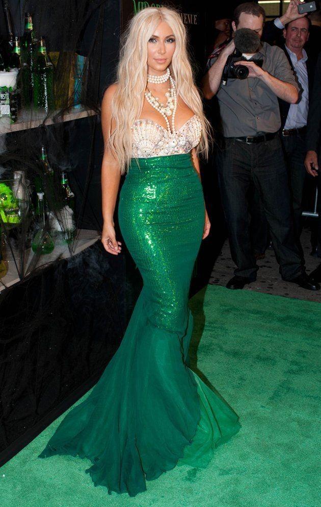 What Were They Thinking?! - Kim Kardashian Style Celebrity Fashion - green dress halloween costume ideas