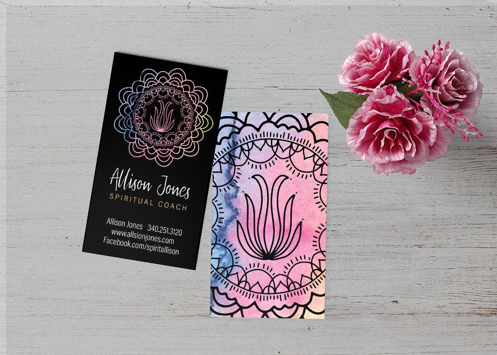 Spiritual Business Card Water Color Mandala Pink Healer Chakra Yoga Tie Die Sacred Geometry Spiritual Business Card Visiting Cards Spiritual Business
