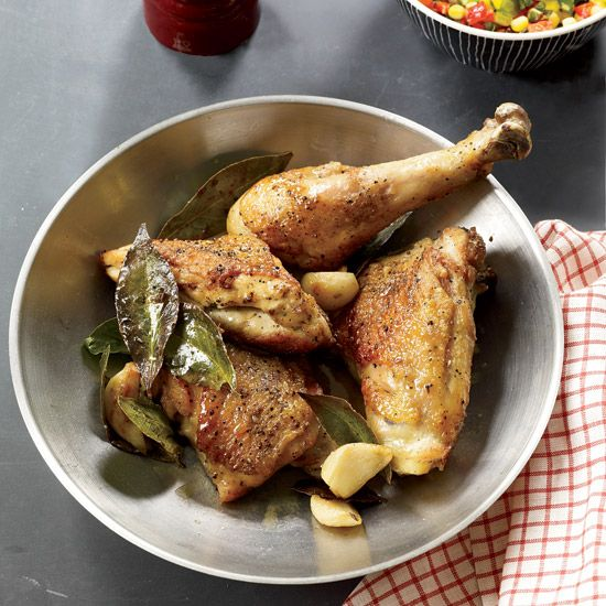 """Pan-Roasted Chicken with Corn Relish   This one-skillet recipe is based on a dish Cathal Armstrong's father, Gerry, made when Armstrong was growing up in Dublin, with a big difference. """"We only got fresh corn for our birthdays. Otherwise it was frozen."""""""