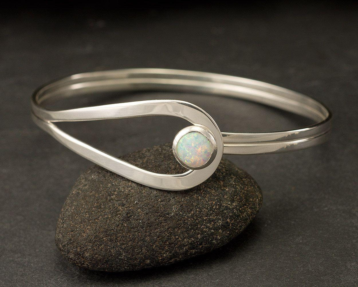Sterling Silver Opal Bracelet Latch Handmade Cuff Jewelry