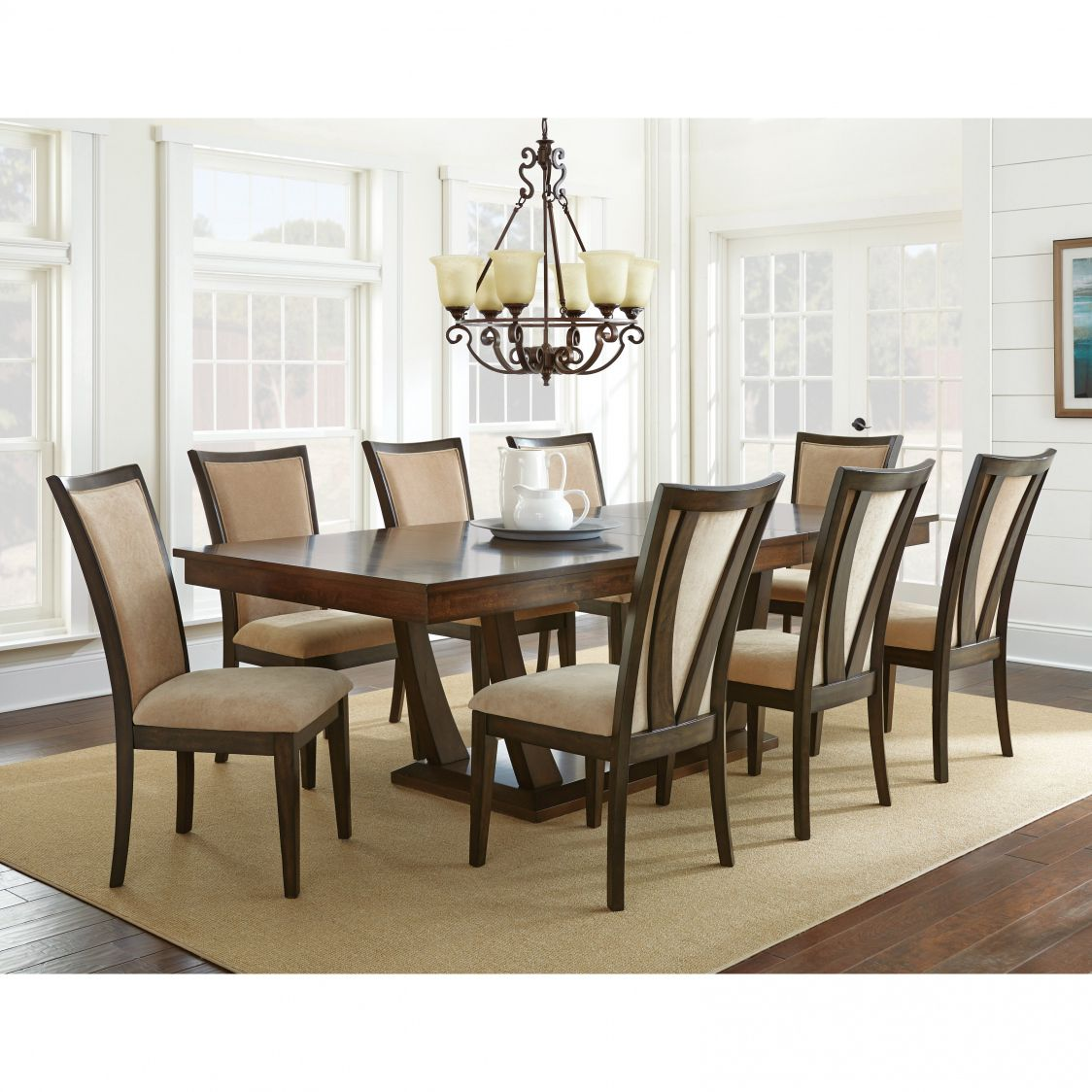Attrayant Steve Silver Gabrielle 9 Piece Dining Table Set   Medium Walnut   Modern  Elegance Lives In The Steve Silver Gabrielle 9 Piece Dining Table Set    Medium ...