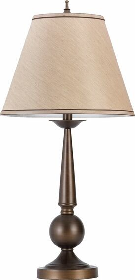 901254 Set Of 2 Bronze Finish Metal Ball And Cone Shaped Table Lamp With Beige Fabric Shade Bronze Table Lamp Table Lamp Sets Fabric Shades