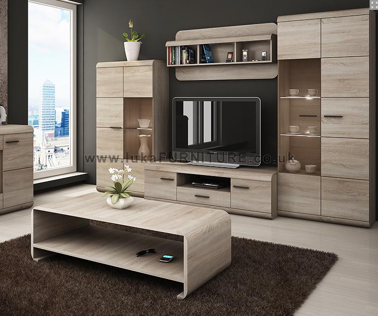 Luka Modern Set Tv Table Entertainment Unit Stand Living Room Furniture Light Wood Racks Desk Brown Carpet Sets With