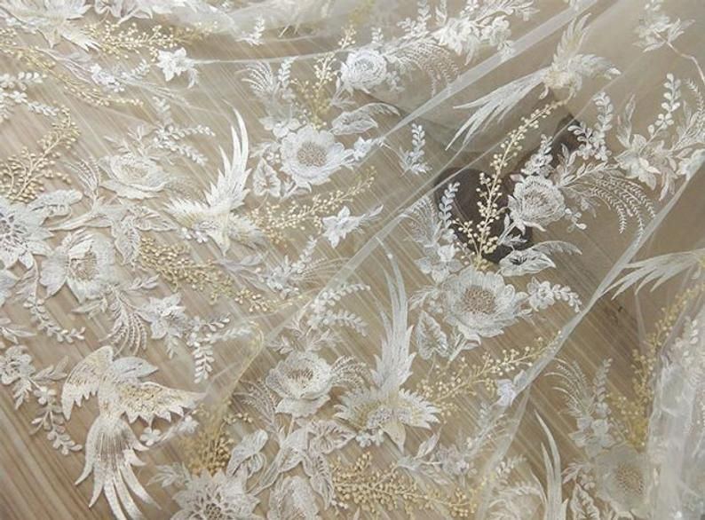 1 Yard White Sequin Luxurious Flower Bird Embroidered Lace Fabric for DIY dress,Prom Dress,Wedding Bridal Dress,Soft Floral Pattern Fabric