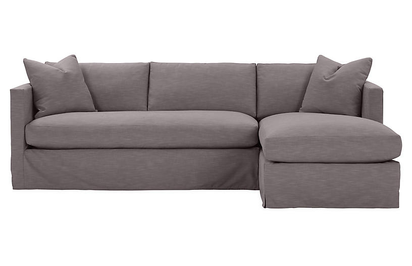 Shaw Right Bench Seat Sectional Charcoal Crypton Sofa Fabric