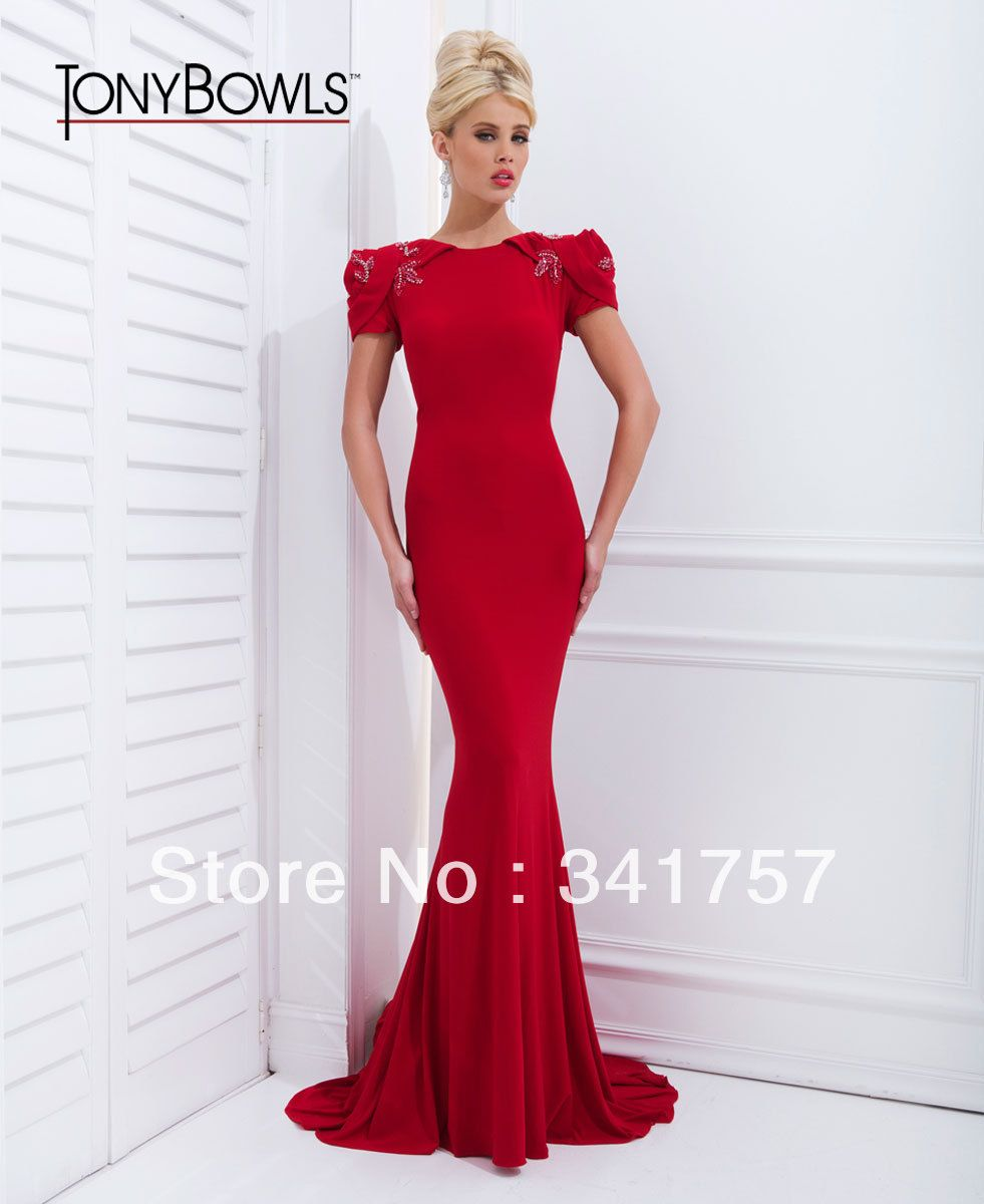 Red mermaid evening dress new fashion cap sleeve appliques with