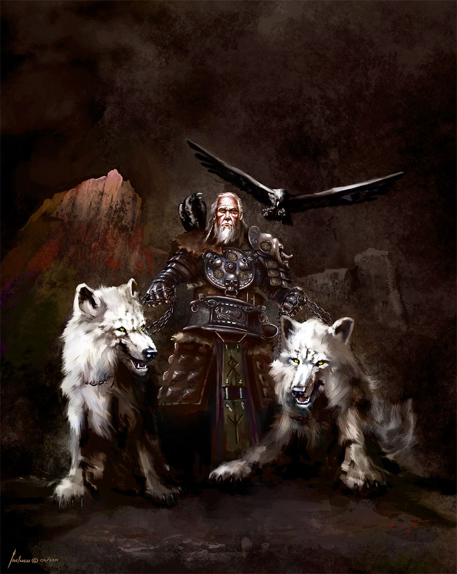 Odin Along With His Wolves Geri And Freki And His Ravens