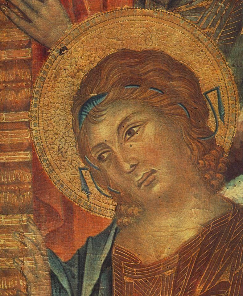 The Madonna in Majesty detail - CIMABUE pseudonimo di Cenni (o Bencivieni) di Pepo (Firenze, 1240 circa – Pisa, 1302) #TuscanyAgriturismoGiratola