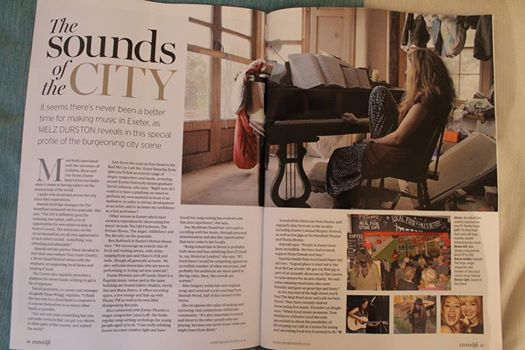 Our first ever magazine mention was in Exeter Life and referred to our Acoustic Corner and features a picture of Hannah and her guitar (bottom middle).
