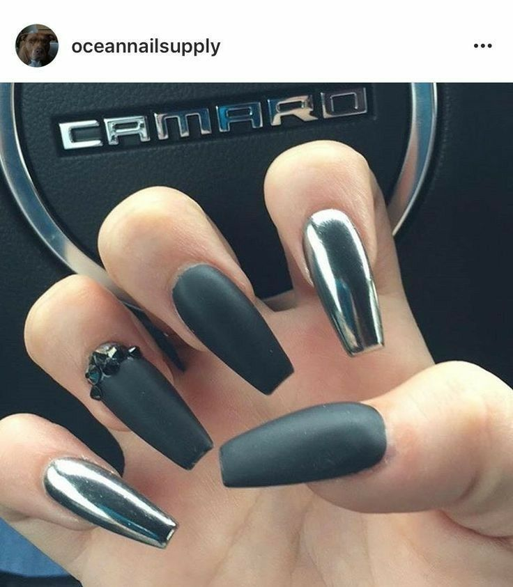 Black Matte Nails. Chrome Nails. Nails With Rhinestones. Acrylic ...