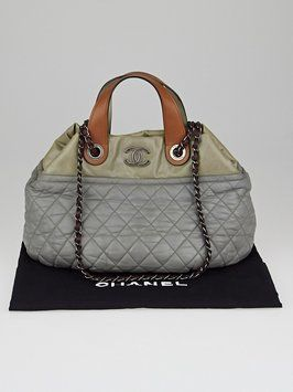 83f0cffd1997a7 Chanel (like New) Quilted Iridescent Calfskin Leather Small In-the-mix Grey Tote  Bag. Get one of the hottest styles of the season!