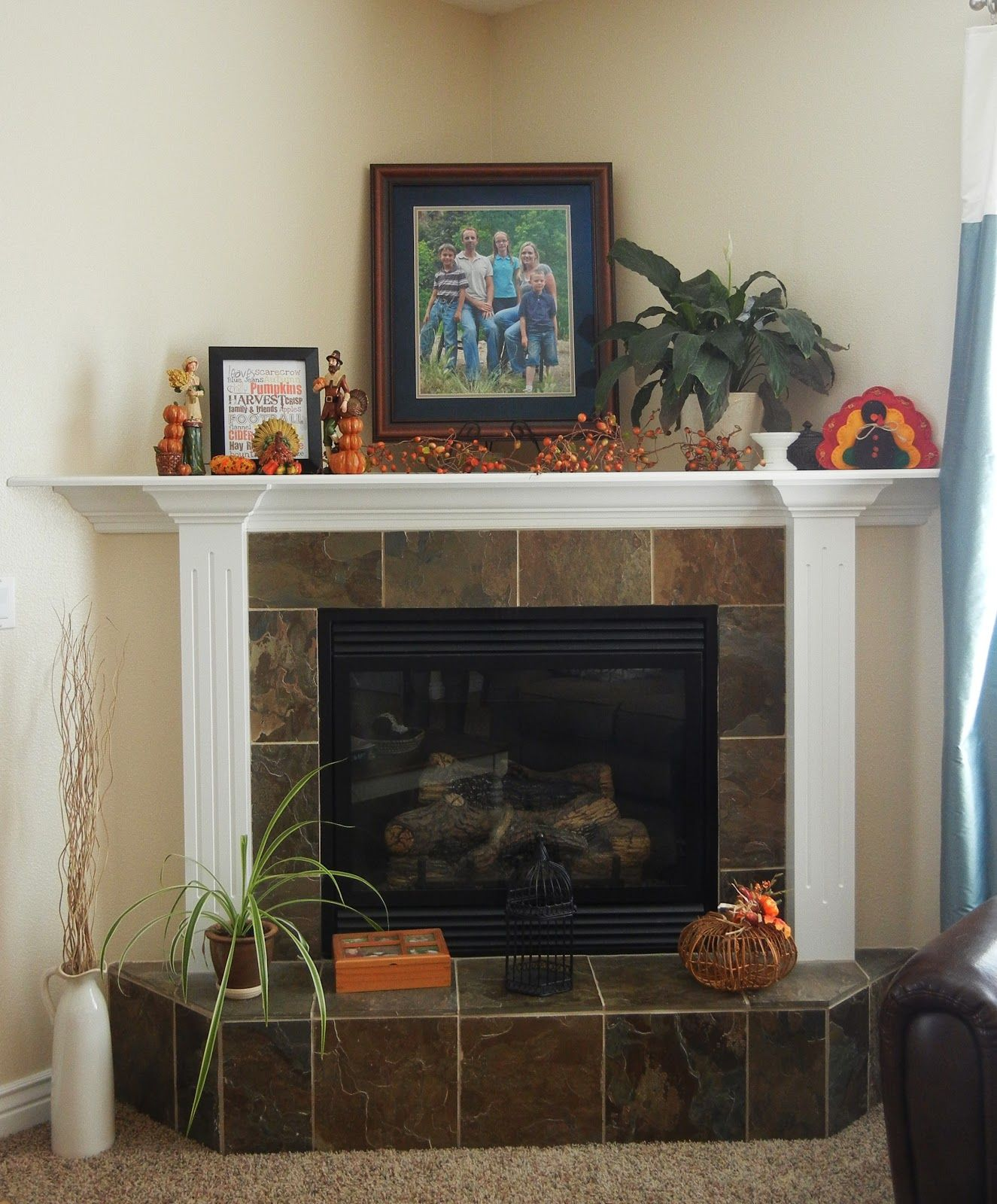 Corner Fireplaces | Vanessa\u0027s fireplace, with its tile base and ...