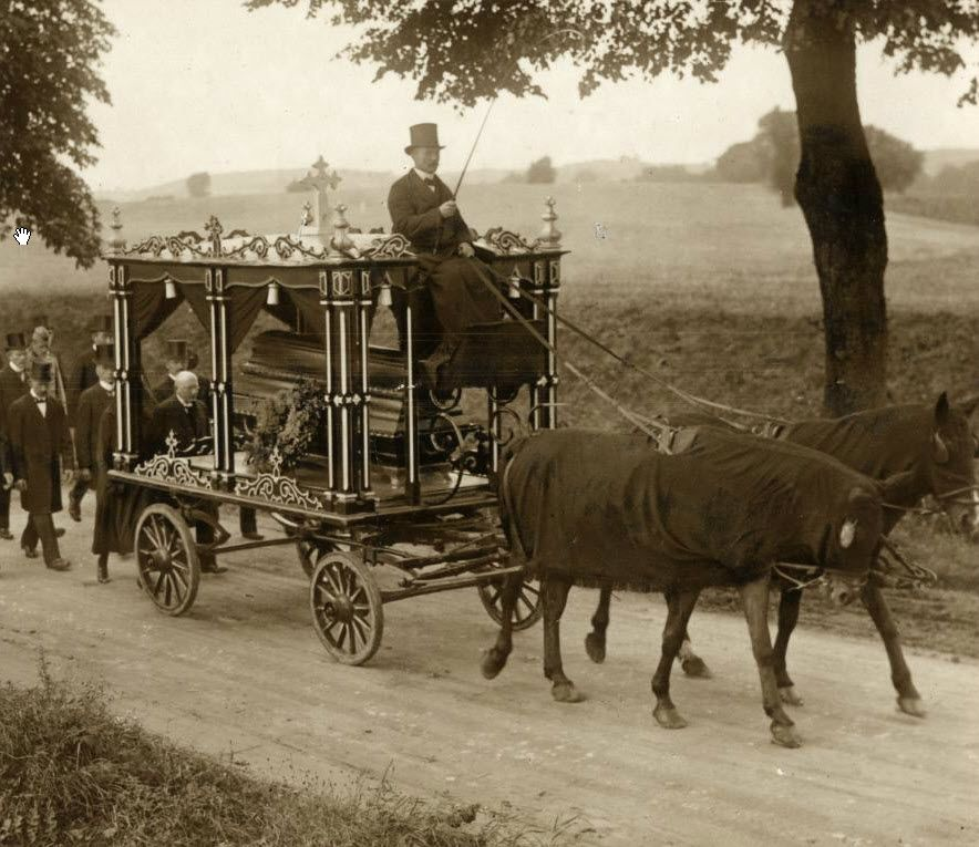 Funeral procession with horse-drawn hearse   Hearse, Horses, History