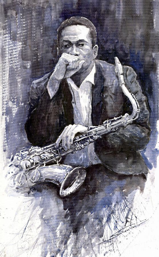 Yuriy Shevchuk, Jazz Saxophonist John Coltrane - Born in 1961 in Kiev, Ukraine, Yuri Shevchuk attended the Kiev Art School and the prestigious Kiev Architectural Academy. Yuriy has recorded his own experiences in his artworks: his three passions, painting, jazz and historical cars have become the focus of his paintings. Bewitched with jazz music he skillfully and rapidly sketches the cool and charming figures of musicians in action, showing the positive mood and spiritual intensity of jazz.
