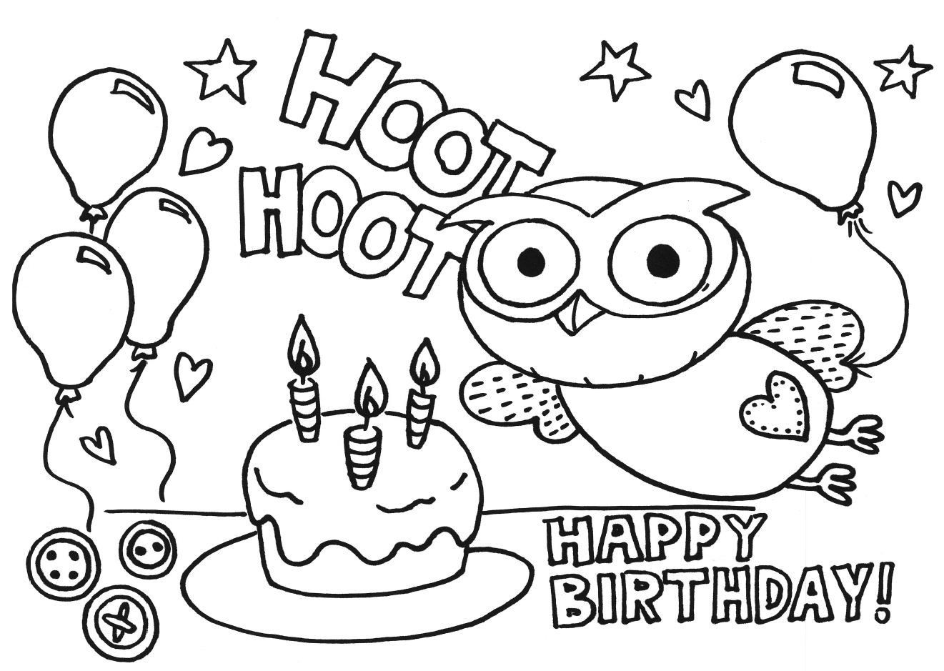 Owl Coloring Books For Adults Best Of Happy Birthday Owl Coloring Pages Happy Birthday Coloring Pages Birthday Coloring Pages Coloring Birthday Cards