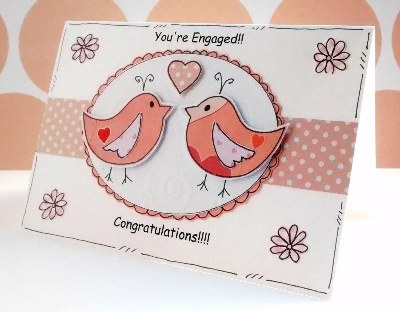 Engagement Congratulations Card Lovebirds By Craftymushroomcards