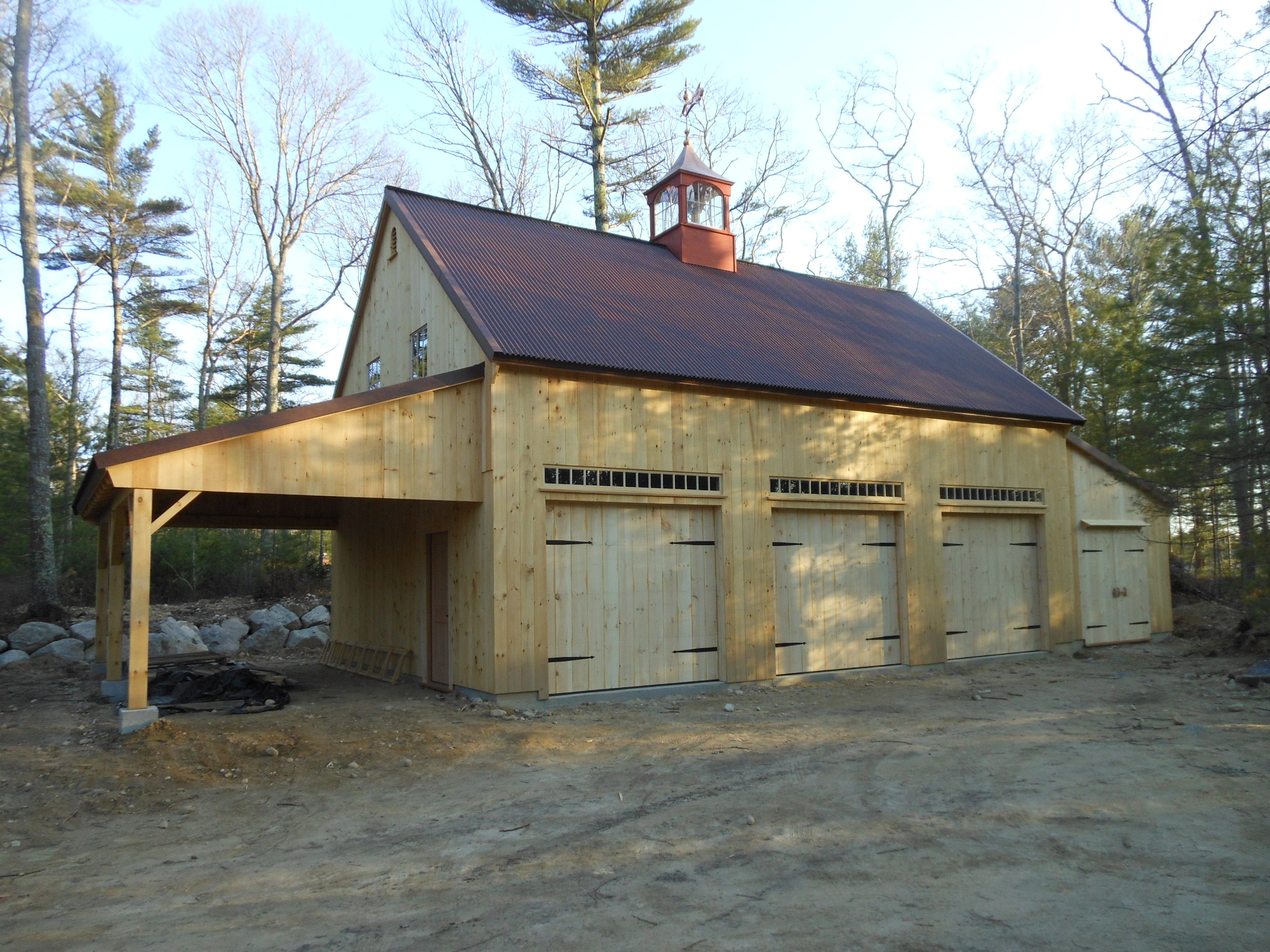 Our 1 1 2 story post beam bar 22 39 x 36 39 with open and for Garage with lean to