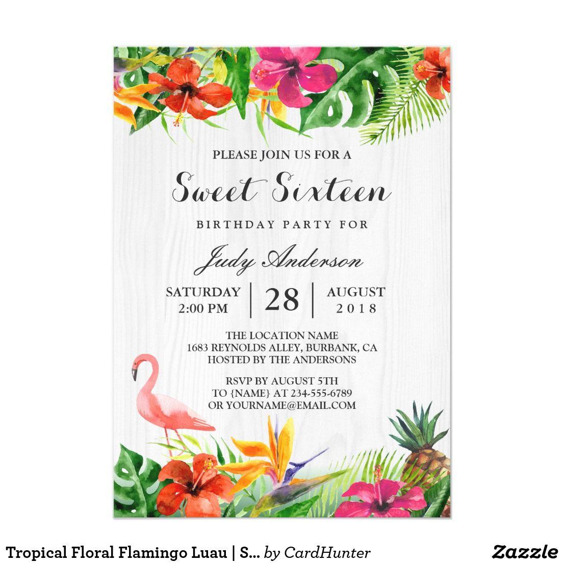 Tropical Floral Flamingo Luau | Sweet 16 Birthday Card | Sweet 16 ...