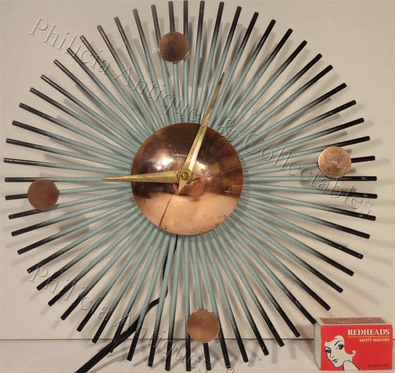 1950'S ENGLISH METAMEC 220/240 VOLT WORKING ELECTRIC SUNBURST METAL WALL CLOCK #MetamecMadeinEngland