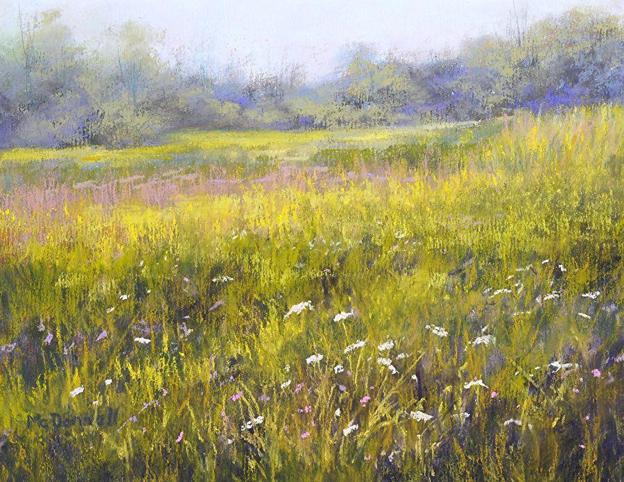 """Flower Fields #2 by Kathy McDonnell Pastel ~ 8"""" x 10"""""""