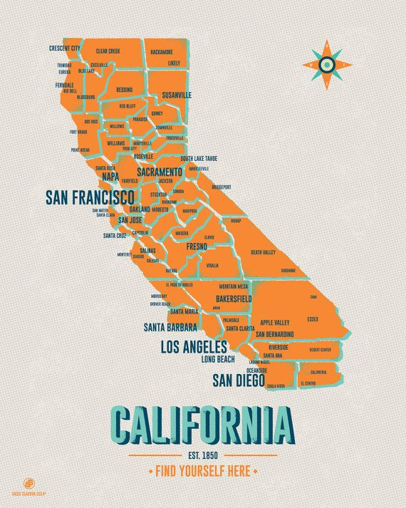 California Map 16x20 Yellow Vintage style poster by VassiSlavova