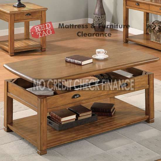 $309.99 Light Brown Lift-Top Coffee Table 701188. The Light Brown Coffee Table by Coaster features a tabletop that raises to reveal storage.